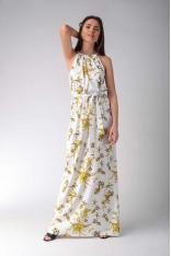 Maxi Sukienka w Żółte Kwiaty z Dekoltem Typu Halter