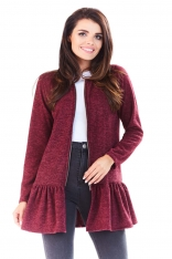 Bordowy Długi Sweter na Suwak z Falbanką