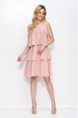 Różowa Sukienka z Falbankami bez Rękawów