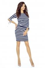 Granatowa Sukienka w Marynarskie Szerokie Paski z Wiązaniem na Rękawach