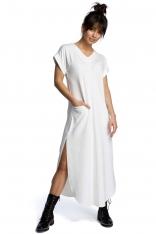Ecru Wyjściowa Długa Sukienka z Rozcięciami na Bokach