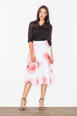 Spódnica Midi Rozkloszowana w Kolorowe Kwiaty w Odcieniach Różu
