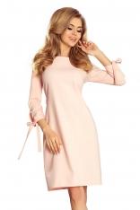 Różowa Sukienka z Kokardkami i Paskiem