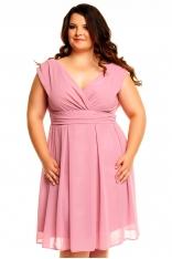 Różowa Sukienka z Kopertowym Dekoltem PLUS SIZE
