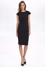 Ołówkowa Czarna Sukienka z Efektownymi Zakładkami