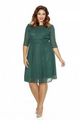 Zielona Wizytowa Sukienka z Zakładkami przy Dekolcie PLUS SIZE