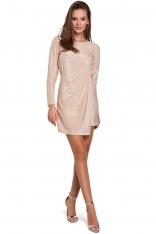 Beżowa Dopasowana Asymetryczna Sukienka z Połyskiem