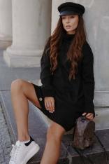 Czarna Sukienka z Golfem i Guzikami