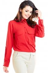 Czerwona Koszula z Kieszeniami Typu Kargo