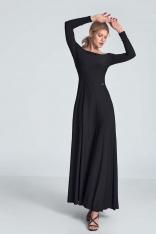 Czarna Maxi Sukienka Odsłaniająca Ramiona