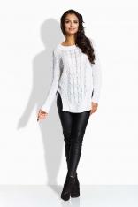 Biały Sweter w Warkocze z Rozcięciami na Bokach