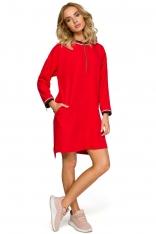 Czerwona Codzienna Sukienka Oversize z Suwakami
