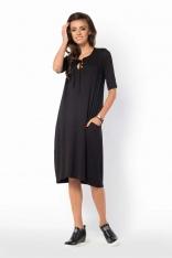 Czarna Sukienka Bombka z Wiązaniem przy Dekolcie
