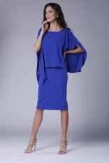 Chabrowa Dopasowana Sukienka z Asymetryczną Narzutką