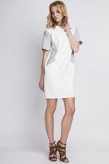 Prosta Biała Sukienka z Krótkim Rękawem