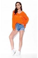 Lekki Oversizowy Sweter z Dekoltem V - Pomarańczowy
