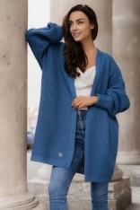 Sweter Typu Kardigan bez Zapięcia - Jeans