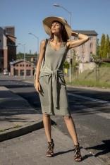 Oliwkowa Prosta Midi Sukienka Swetrowa z Finezyjnym Wiązaniem