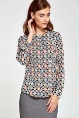 Wzorzysta Bluzka Elegancka Koszulowa z Klapą