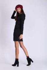 Czarna Ołówkowa Sukienka z Drapowanym Rękawem