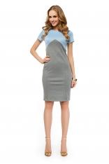 Szaro-błękitna Dwubarwna Ołówkowa Sukienka Midi z Krótkim Rękawem
