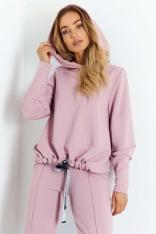 Nowoczesna Bluza z Wycięciem na Plecach - Różowa
