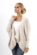 Beżowy Stylowy Sweter -Narzutka z Kieszeniami