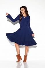 Granatowa Sukienka w Stylu Boho ze Sznurowanym Dekoltem