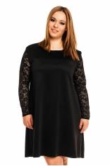 Czarna Elegancka Trapezowa Sukienka Długim Rękawem PLUS SIZE