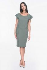 Khaki Sukienka Dresowa z Nakładanymi Kieszeniami