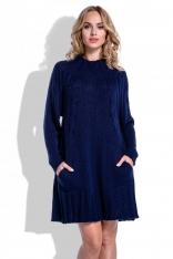 Swetrowa Granatowa Sukienka Oversize z Kieszeniami