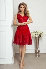 Czerwona Wieczorowa Rozkloszowana Sukienka z Gipiury