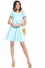 Bawełniana Mini Sukienka z Owalnym Dekoltem - Jasnoniebieska
