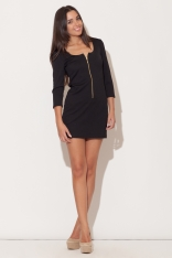 Czarna Mini Sukienka z Długim Suwakiem