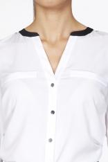Biała Elegancka Koszulowa Bluzka z Kontrastowym Karczkiem