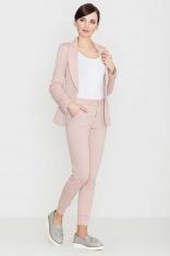 Różowe Komfortowe Spodnie ze Złotym Suwakiem