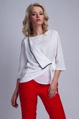 Biała Elegancka Kopertowo Zakładana Bluzka z Kontrastową Lamówką