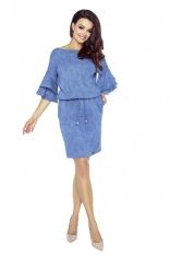 Niebieska Sukienka z Rozkloszowanymi Rękawkami