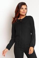 Czarna Elegancka Bluzka z Wiązaniem przy Dekolcie z Długim Rękawem