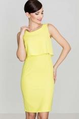 Elegancka Żółta Sukienka Na Szerokich Ramiączkach