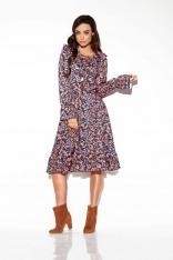 Wzorzysta Sukienka Sznurowana przy Dekolcie - Druk 10