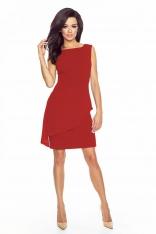 Czerwona Elegancka Sukienka z Szyfonową Baskinką