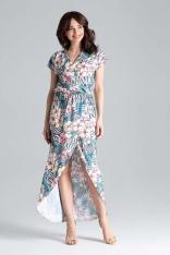 Długa Kopertowa Sukienka z Krótkim Kimonowym Rękawem - Wzór 104