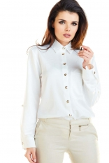 Biała Klasyczna Koszula Zapinana na Złote Guziki