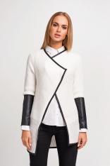 Ecru Stylowy Sweter Narzutka z Dodatkiem Eco-Skóry