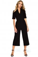 Czarny Elegancki Kombinezon ze Spodniami Typu Culotte