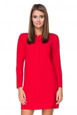 Czerwona Sukienka Elegancka z Plisą na Przodzie