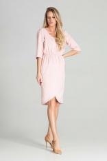 Sukienka Midi z Kopertowym Dołem - Różowa