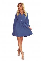 Koszulowa Sukienka z Bufiastym Rękawem - Niebieska