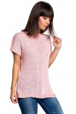 Różowy Letni Sweter z Krótkim Rękawem z Aplikacją